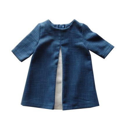 Blauw Birdie jurk met springplooi